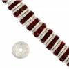 Rhinestone Rondelle (Flat Round) 4.5mm Silver/Siam Ruby